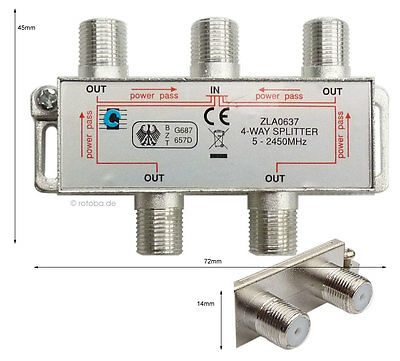 Sat-Verteiler, Y-Splitter, Antennenverteiler, Koax, TV 4-way Spliter, #637