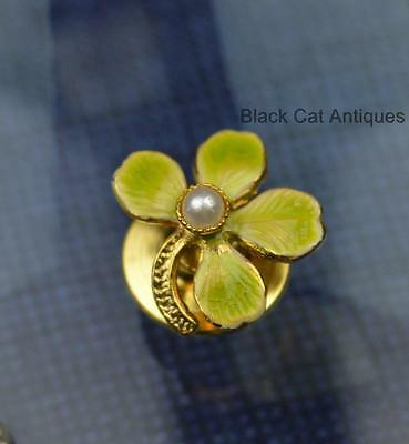 Beautiful Vintage Tiny Enamel Four Leaf Clover faux Pearl Pin
