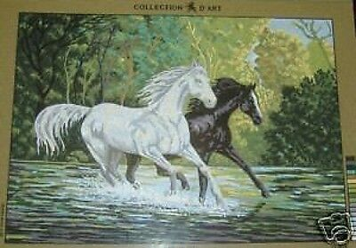 Running Wild Horses Black and White Horses Tapestry Needlepoint Canvas