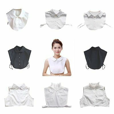 Women Peter Pan Lapel Fake Collar Detachable Half Shirt Blouse False Collar Bibs
