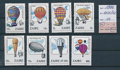 LF67042 Zaire 1984 hot air balloon aviation fine lot MNH cv 14€