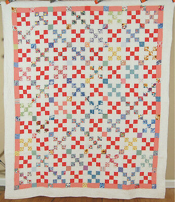 CHEERY 30's Nine Patch Antique Quilt ~VINTAGE NOVELTY PRINTS & NICE QUILTING!