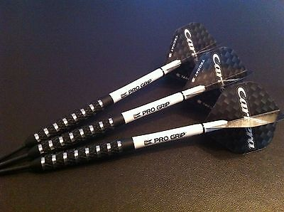 25g Black NODOR Tungsten Darts Set, with Target Carrera Flights & Pro Grip Stems