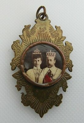 Brass Medallion / Fob - King George V & Queen Mary - Rare