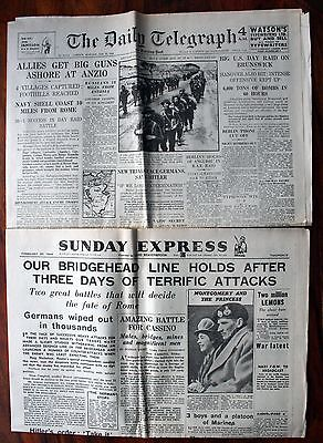 2x WW2 NEWSPAPERS JAN / FEB 1944 -  ALLIED INVASION OF ITALY - ADVANCE ON ROME
