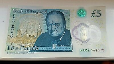 Churchill Polymer £5 Five Pound Note Banknote Aa02 Serial Number