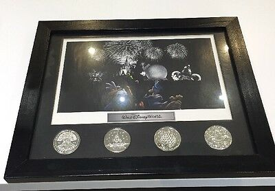Walt Disney World Theme Park Icons Fab 5 Lithograph & 4 Coin Framed Set Display