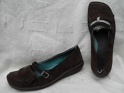Ladies Clarks Chocolate Brown Suede  Loafer Flat Shoes~ Uk Size 6, Eu 39
