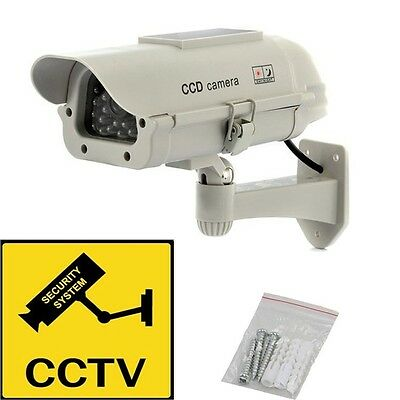 NEW Solar Power Dummy Outdoor Dome Fake Security LED CCTV Camera Surveillance