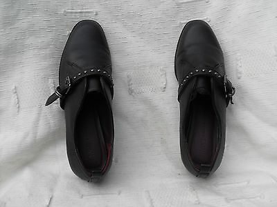 Ladies M&s Collection Black Leather Buckle Fastening Loafer Shoes~ Uk 5, Eu 38