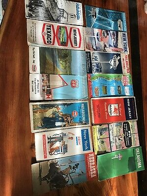 Lot of 14 Vintage Road Maps Late 50's-early 70's Sunoco Texaco American Standard