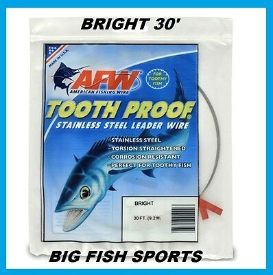 AFW TOOTH PROOF STAINLESS STEEL LEADER-Single Strand Wire-32LB Test 30FT BRIGHT