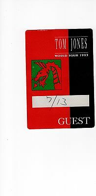 TOM JONES unused back stage pass         AWESOME          FROM 1993 WORLD TOUR