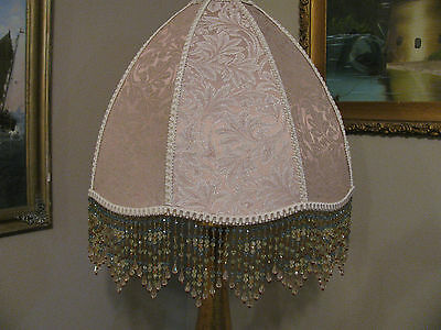 """Victorian French EX Large Floor or Table Lamp Shade """"Pink Beige""""  Bead Fringe"""