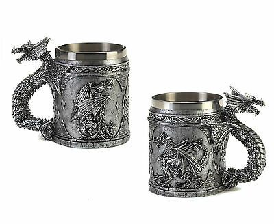 DRAGONS: Set of 2 Medieval Inspired Celtic Knots SERPENTINE DRAGON MUGS New