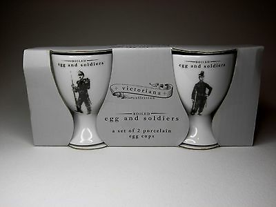New pair of boxed ceramic egg cups, each featuring a Victorian soldier
