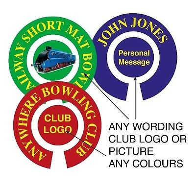 12 SETS PERSONALISED BOWLS (24) STICKERS 1 inch LAWN, FLATGREEN & INDOOR BOWLS