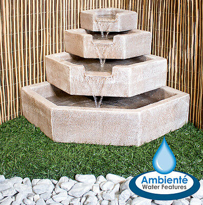 4 Tier Outdoor Cascade Water Feature with Lights Self Contained 63cm Portobello