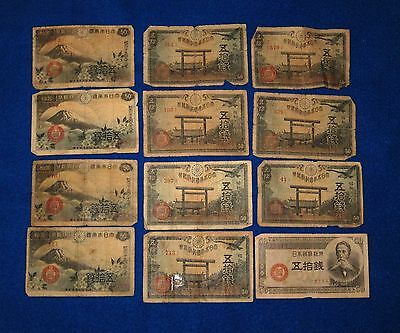 Japanese 50 SEN banknotes pre- post- and during WWII