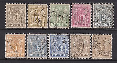 10 stamps of LUXEMBOURG 1882. 9 fine used copies - 1 m/mint Cat value £325+