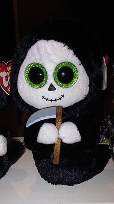 Ty Beanie Boos Halloween sold out 2015 holiday edition GRIMM ghost w/scythe