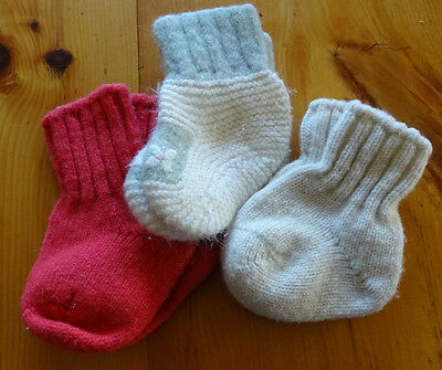 Lot of 3 High Quality WOOL Knit Baby Socks SOFT and Unique! Hestia and Vintage