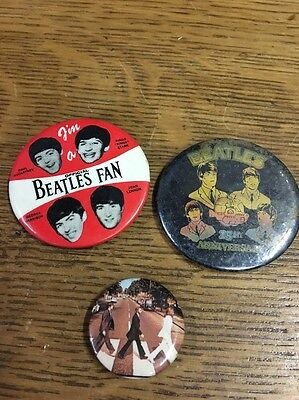 Vintage I'M A BEATLES  FAN Pin Back Button, Beatles 15th Anniversary Button