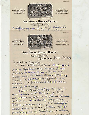 1938 Letters With Letterhead From The White House Hotel Gainsville Florida