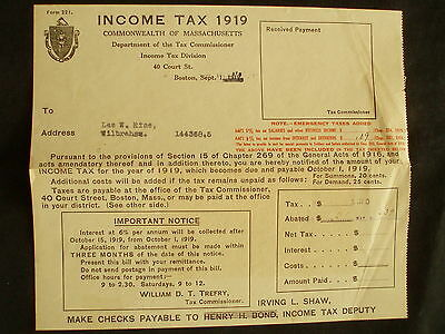 Massachusetts INCOME TAX 1919 Form       VERY INTERESTING PAPER FORM