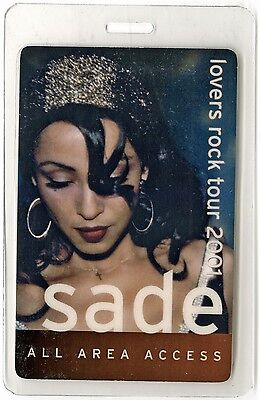 Sade authentic 2001 concert tour Laminated Backstage Pass