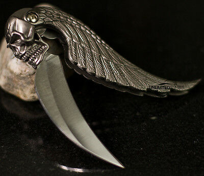 "New 7"" Silver Blade Wing Skull Design Folding Tactical Pocket Knife"