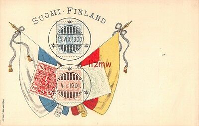 Finland Suomi 4 Postage Stamps Postmarked 1900 1901 Not Real On Flags Art Card