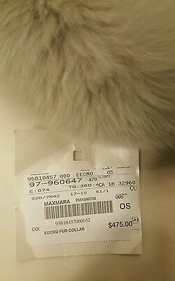 New S'Max Mara Ecru fox fur collar Made in Italy Retail $645 Cube Collection