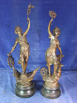 19th C Pair Of French Spelter Figures c.1890 [9981]
