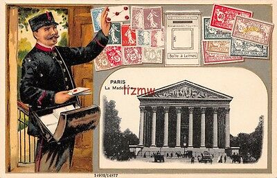 France Paris La Madeleine & Postman Letters & Postage Stamps Not Real Embossed