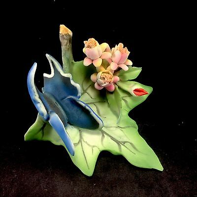 Capodimonte Italy Blue Butterfly Flowers Ceramic Porcelain Vintage