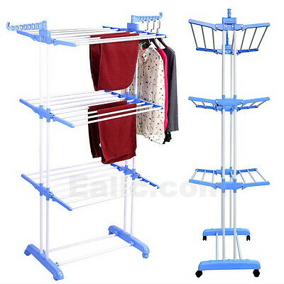 Foldable 3 Layer Clothes Airer Hanger Laundry Dryer Stand Rack Indoor Balcony
