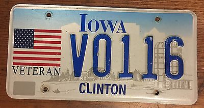 Expired Vintage IOWA Veteran License Plate V0116 IA Clinton Low Number