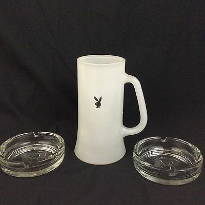 Playboy 2 Clear Glass Ashtray & White Frosted Glass Beer Mug Advertising Set
