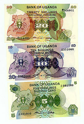 Uganda … P-15-17 … 5,10,20 Shillings … ND(1979) … *UNC*  Short Set.