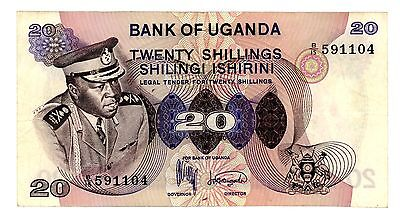 Uganda …. P-7a …. 20 Shillings …. ND(1973) …. *VF++*