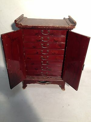 A Small Red Lecquered Collectors Cabinet