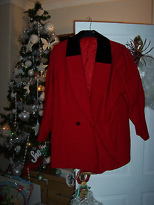 vintage  a miss smith  original red and black pure wool coat size 12