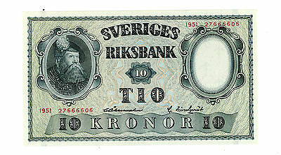 Sweden … P-40l … 10 Kroner … 1951 … *Choice UNC*