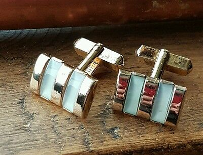 Vintage Swank Art Deco style goldtone and mother of pearl cufflinks