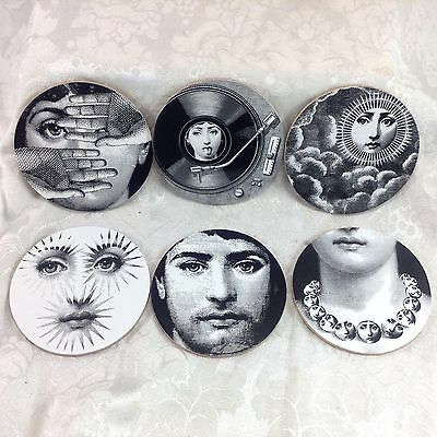 Set of 6 Fornasetti Drink Coasters Lina Woman Art Nouveau Reproduction Lot #C