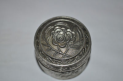 Vintage White Metal Trinket / Pill Box With Flower Design