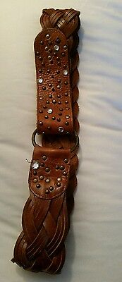 wide plaited leather ladies belt