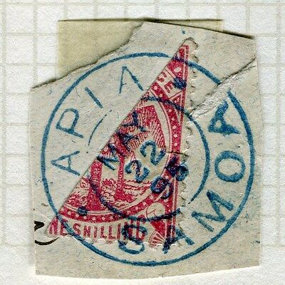 SAMOA;  SCARCE 1895 classic BISECT on PIECE fine used 1s. bisected item