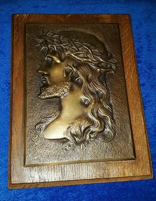 Vintage Jesus Christ Brass and Wooden Plaque